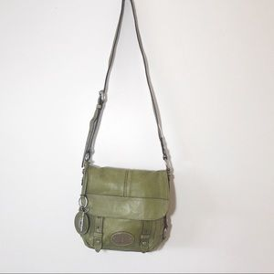 Fossil Maddox Vintage Leather Flap Crossbody Green